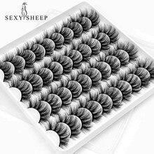 Sexysheep 5/8/12/20 pares vison cílios falso vison cílios postiços volume dramático cílios cílios extensão para maquiagem