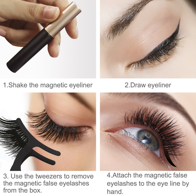 LKE Magnetic False Eyelashes Magnetic Eyeliner 3 Pairs/set Waterproof Long Lasting 3D Faux Mink Eyelash For Extensions 10 styles 3