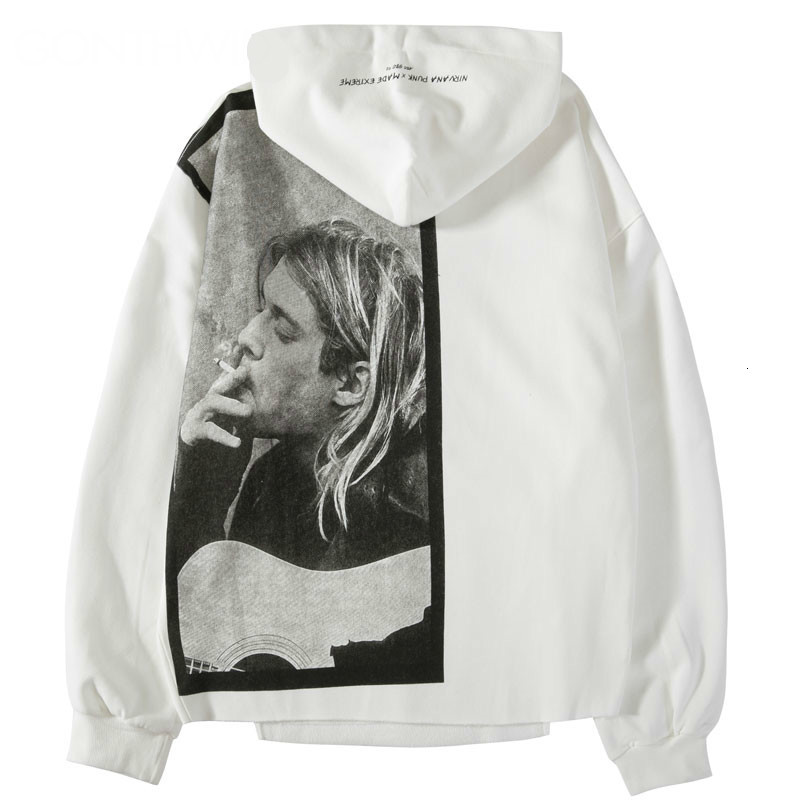 EWQ /  Kurt Cobain Print Hoodie Men Hip Hop Casual Punk Rock Pullover Hooded Sweatshirts Streetwear 2019 Fashion Tide Tops 9A283