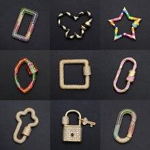 Wunderschöne Diy Geometrische CZ Verschluss Großhandel Herz Halskette Zirkon Klatscht Lock Key Verschlüsse Für Oval Stern Schmuck Machen