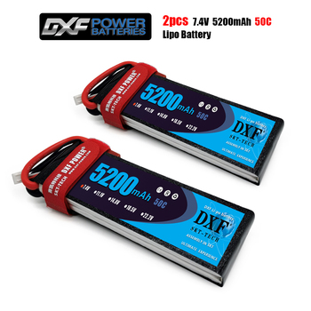 DXF Lipo Battery 7.4V 5200MAH 50C 2S MAX100C T/XT60 LiPo RC Battery For Rc Helicopter Car Boat drone truck quadcopter Traxx image