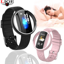 LIGE smart bracelet ladies latest couple watch heart rate monitor pedometer fitness tracker sports waterproof wristband