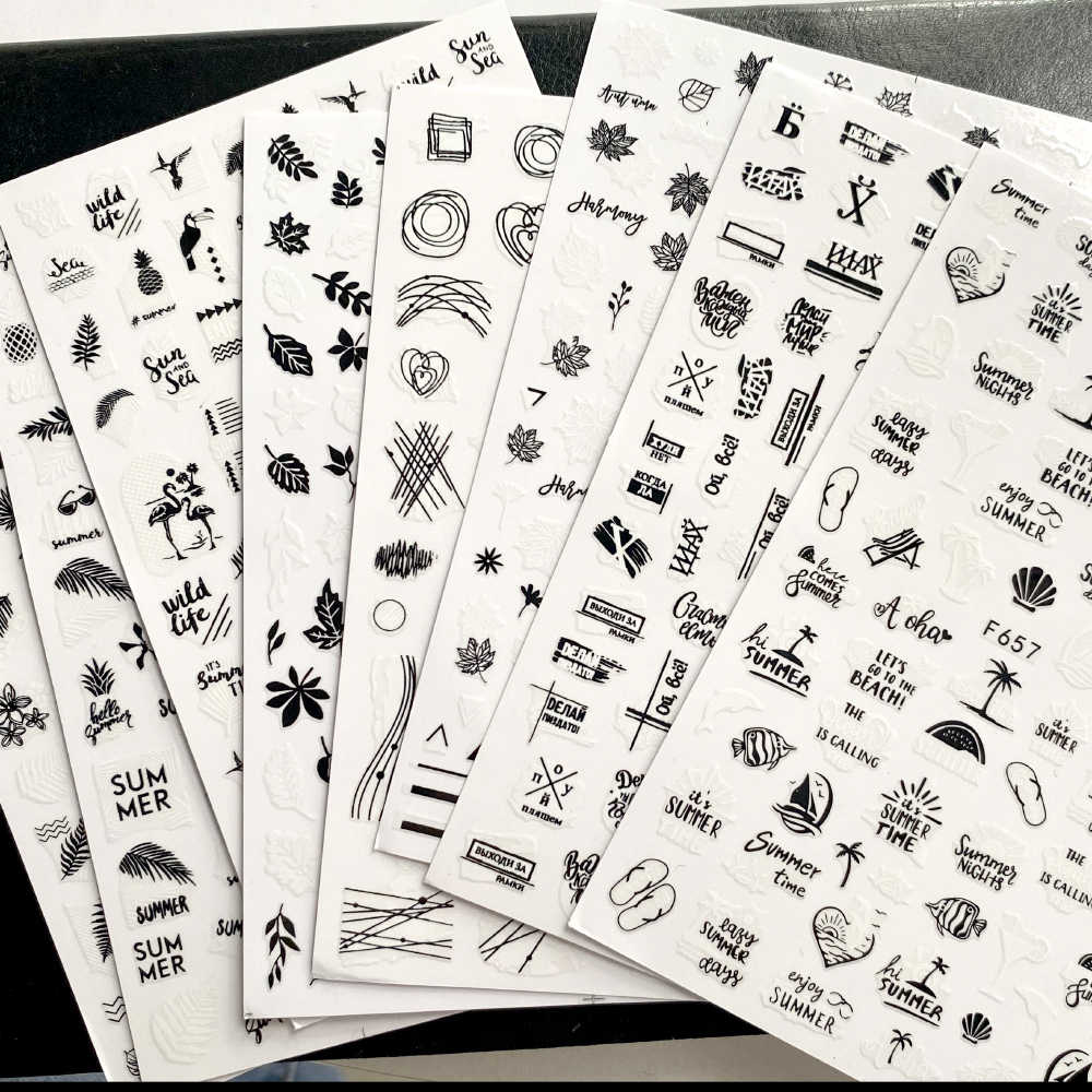 1 Pcs Zwart Wit 3D Nail Art Sticker Bladeren Geometrie Strand Zomer Stijl Nail Art Stickers Decoraties Diy Design Accessoires