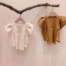 Shirt Jersey Autumn Korean Clothing Baby-Girl Kids Children's Cute Knit Tops Puff-Sleeve