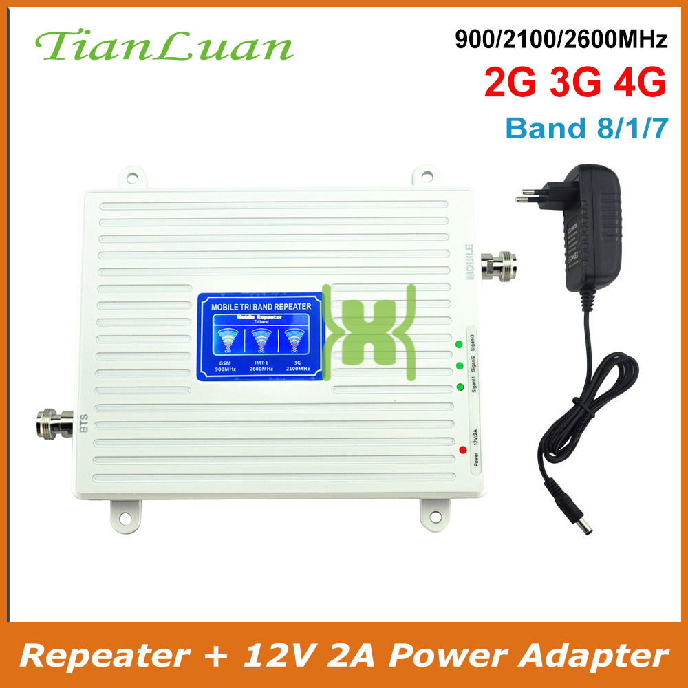 GSM 2G WCDMA 3G LTE 4G 900/2100/2600MHz Cell Phone Signal Booster 2G 3G 4G IMT-E 2600 Repeater Cell Phone Booster Band 1, 8, 7