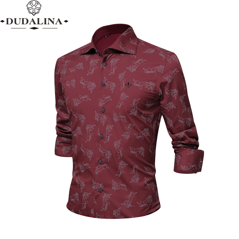 Print Black Fashion Blusa Camisa Social Masculina Dudalina Long Sleeve Slim Fit Shirt Men Floral Clothes Pullover White Male