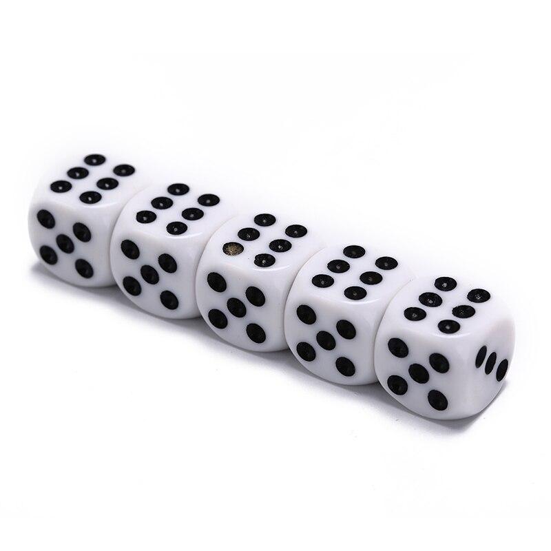 10mm/16mm bebendo dados acrílico branco hexahedron dados canto redondo clube festa mesa jogando jogos jogo de dados rpg