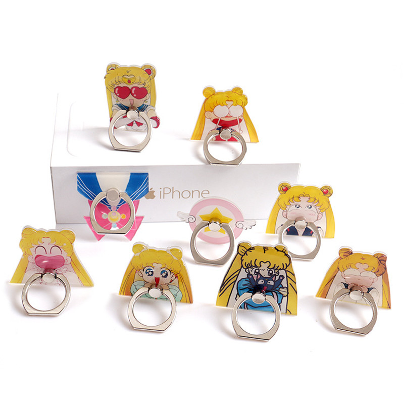 Mobile Phone Shell DIY Paste Accessories Cartoon Sailor Moon Ring Buckle Bracket Water Ice Moon Mobile Phone Universal