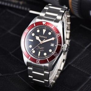 Image 3 - Parnis relógio masculino de pulso, 41mm, miyota, movimento mecânico automático, aço inoxidável, luminoso, marca de luxo, sapphire, cristal, relógio de pulso, homens