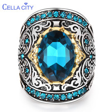 Cellacity Silver 925 Jewelry for Party Aquamarine Ring for Women Huge Oval Gemstones Hyperbole Design Size6