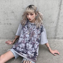 Harajuku Style Personality Graffiti Print Womens Tops Simple Casual Round Neck Half Sleeve Plus Size Tee