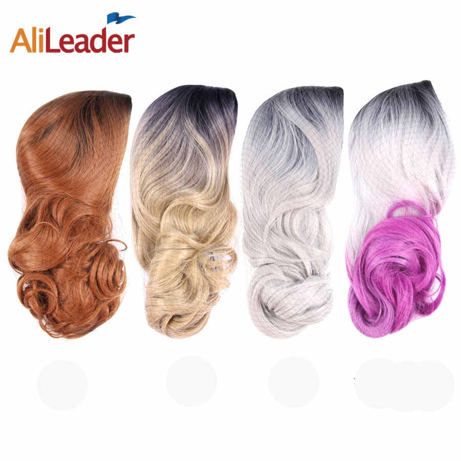 Pelucas sintéticas onduladas largas Alileader 26 pulgadas 2 tonos negro a plata rubio oscuro colores resistente al calor Halloween para mujer