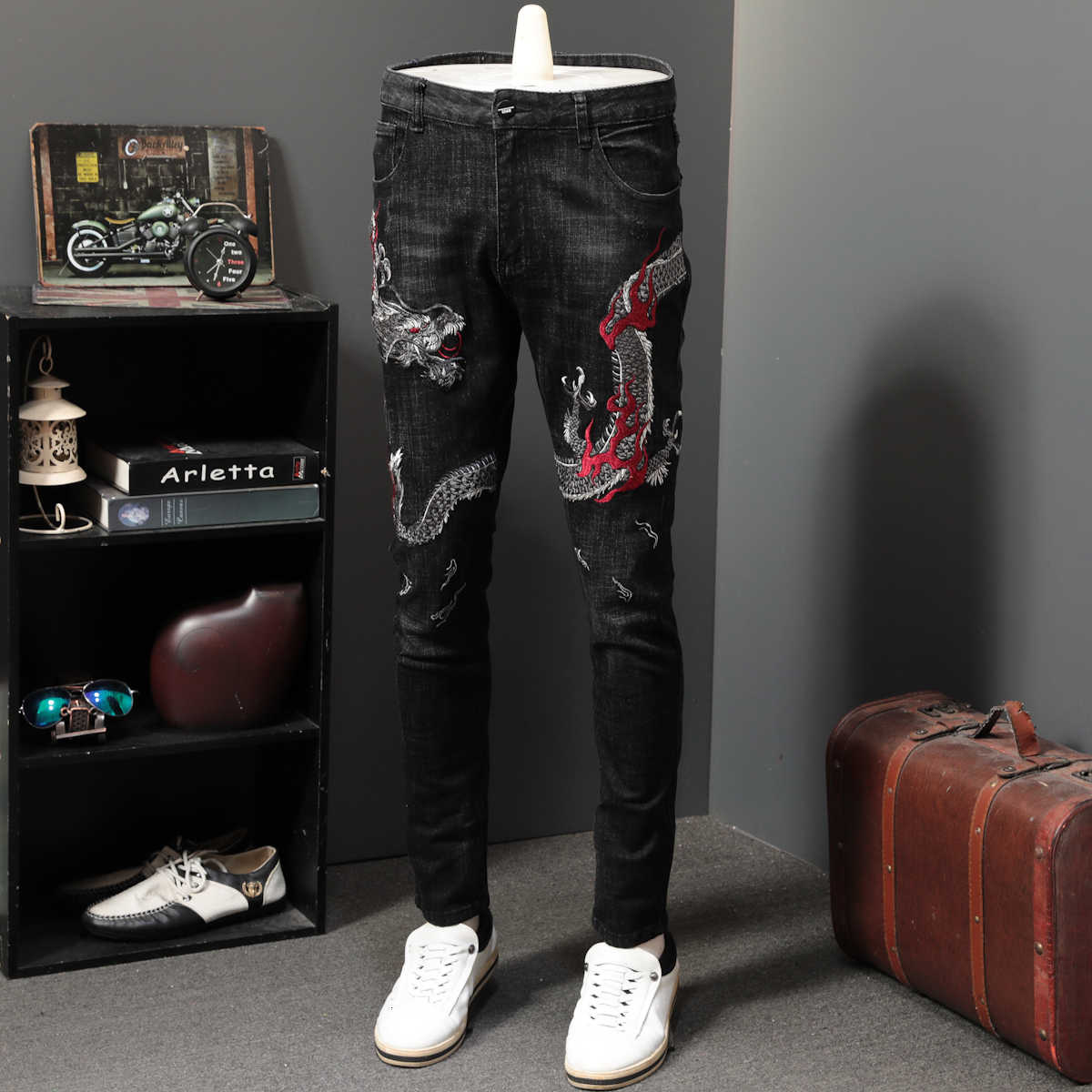 Dragon Embroidery Jean Man Directly Canister Self-cultivation Leisure Time Long Pants Personality Elastic Vaqueros Hombre Skinny