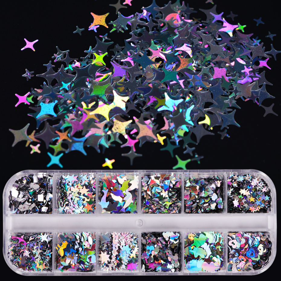 1 Case Laser Sequins For Nails Silver Glitter Triangle Star Holographic Flakes Paillette Tool Nail Art Decoration Manicure JI645