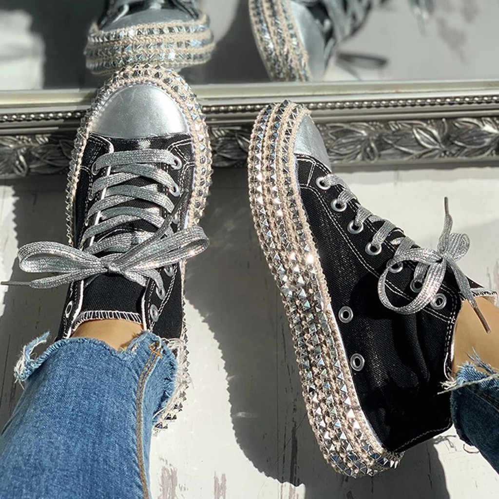 Frauen Fashion Classic Leopard Diamant Schuhe Wilden Dance Lace-Up Leinwand Schuhe Größe 35-43 Dicken Boden Plattform schuhe buty damskie