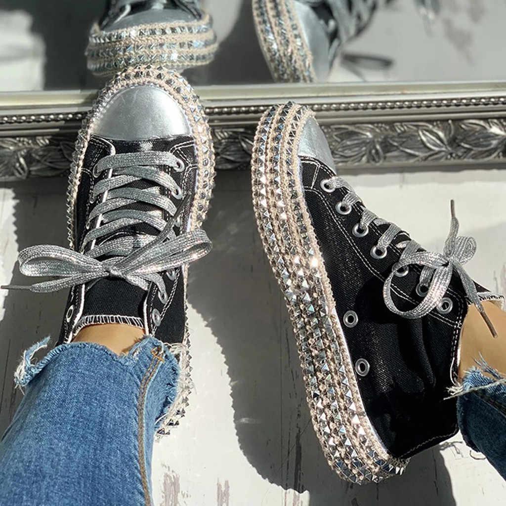 Moda feminina clássico leopardo diamante sapatos de dança selvagem rendas sapatos de lona tamanho 35-43 sapatos de plataforma de fundo grosso buty damskie