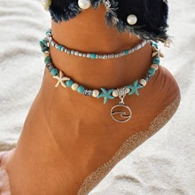 Classics Bohemia Style Natural Stone Beach Anklet Bracelet Charm Women Vintage Bohemian Prom Foot Chain vintage gothic style square turquoise multilayered anklet for women