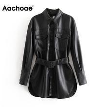 Женское зимнее однобортное пальто из искусственной кожи с длинным рукавом, однотонное Женское пальто с поясом, винтажная верхняя одежда с карманами и пуговицами, женские топы