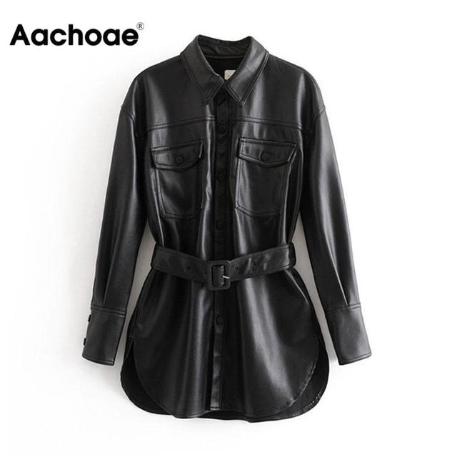 Aachoae Pu Leather Coat Women Spring Single Breasted Long Sleeve Solid Coat With Belt Vintage Pocket Buttons Outwear Ladies Tops