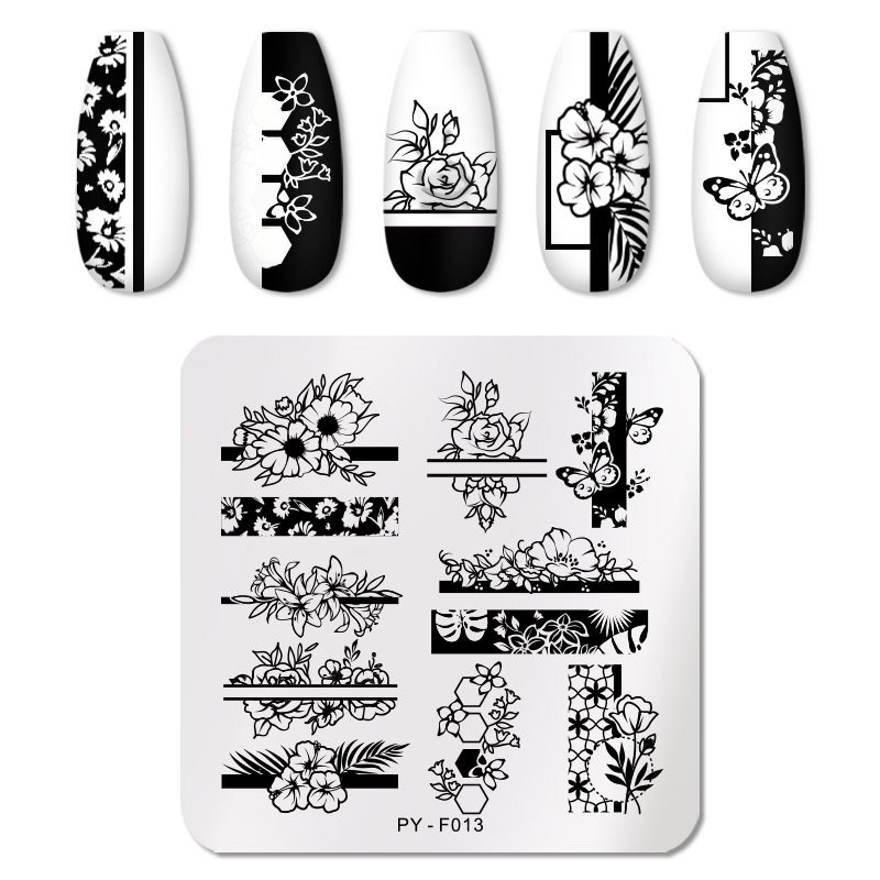 PICT YOU 12*6cm Nail Art Templates Stamping Plate Design Flower Animal Glass Temperature Lace Stamp Templates Plates Image 13