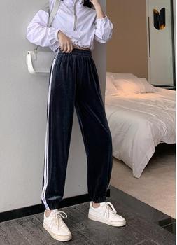 Spodnie dresowe damskie luźne spodnie 2020 jesień nowe spodnie z wysokim stanem cienkie aksamitne damskie spodnie haremowe spodnie na co dzień tanie i dobre opinie Poliester Pełnej długości CN (pochodzenie) Wiosna jesień Stałe Proste Mieszkanie Osób w wieku 18-35 lat NONE Elastyczny pas