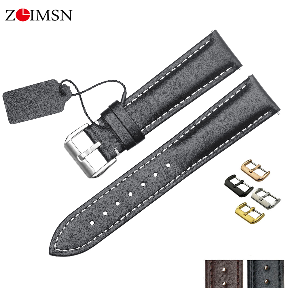 ZLIMSN Universal Leather Watch Band For Tissot Longines DW Seiko Samsung Gear S2 S3 Huami Amazfit  Huawei Gt Watchstrap