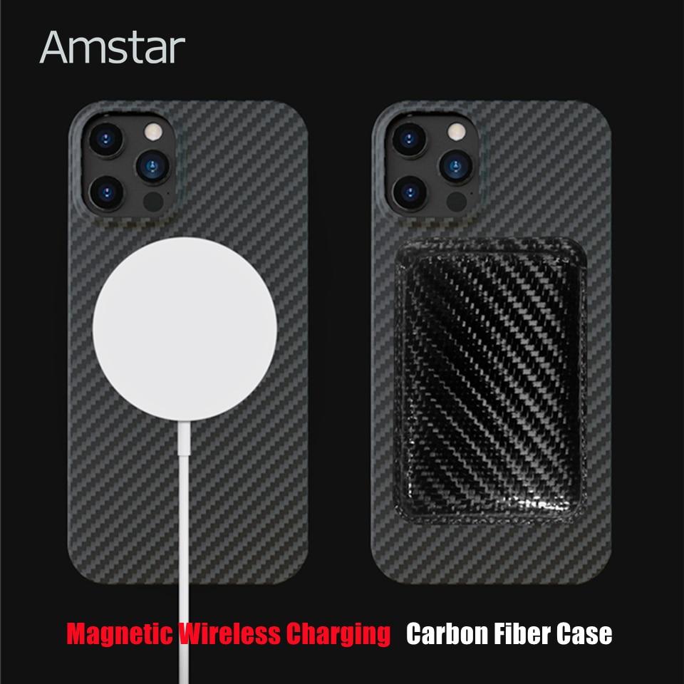 Защитный чехол Amstar из углеродного волокна, магнитная Беспроводная зарядка для iPhone 12 Pro Max, чехол из чистого углеродного волокна для iPhone 12 Mini