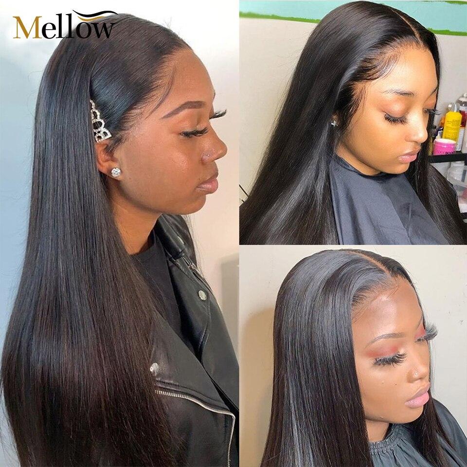 Mellow 4x4 Fechamento Rendas Peruca de Cabelo Humano Peruca 150% Densidade Brasileiro Do Cabelo Humano Lace Front Wigs Com Bebê cabelo|Apliques com cabelo humano|   -