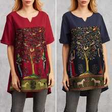 Fashion Printed Shirts Women Patchwork Blouse