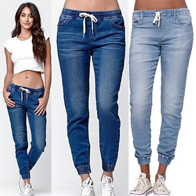 Women's Autumn Winter Casual Jeans Strech Elastic Waist Long Pants Plus Size Fashion Sexy Loose Long Denim Pants