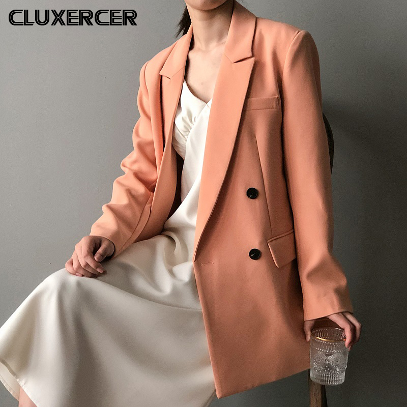 2020 New Spring Autumn Women Long Blazer Jackets Elegant Double Breasted Long Sleeve Office Suit Coat Casacos Masculino
