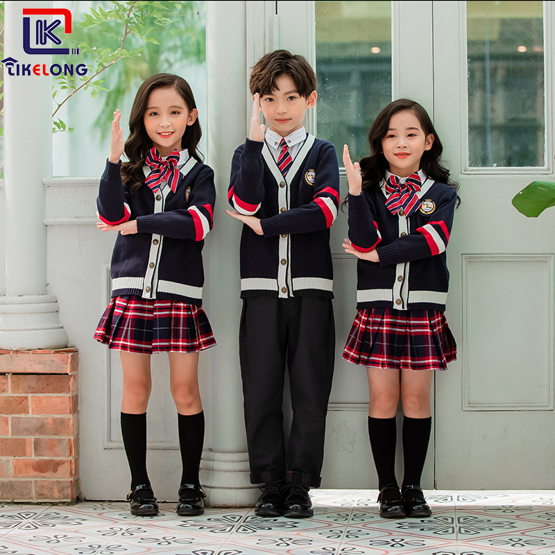 Korea Can Long Autumn & Winter New Style Sweater Cardigan Suit Clothes Kindergarten British Style Young STUDENT'S School Uniform