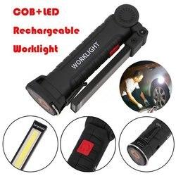 Portable USB pliant extérieur lumineux COB + LED Rechargeable sans fil lampe de travail d'urgence torche lampe de poche pratique lampe d'inspection