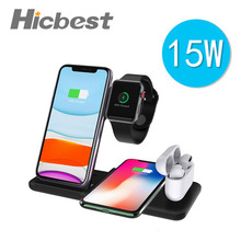 15 W 3 in 1 Wireless Charger สำหรับ iPhone Fast Wireless CHARGING Induction สำหรับ iPhone 11 Airpods Pro 1 2 Apple 5 4 3