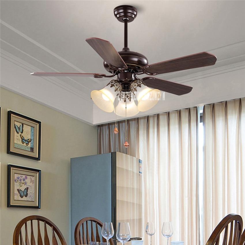 JD-865 Wooden Ceiling Fans 3-head 42-Inch Remote Control Ceiling Light Fan Lamp Living Room Ceiling Fan Light 220V E27*3 10-20m2