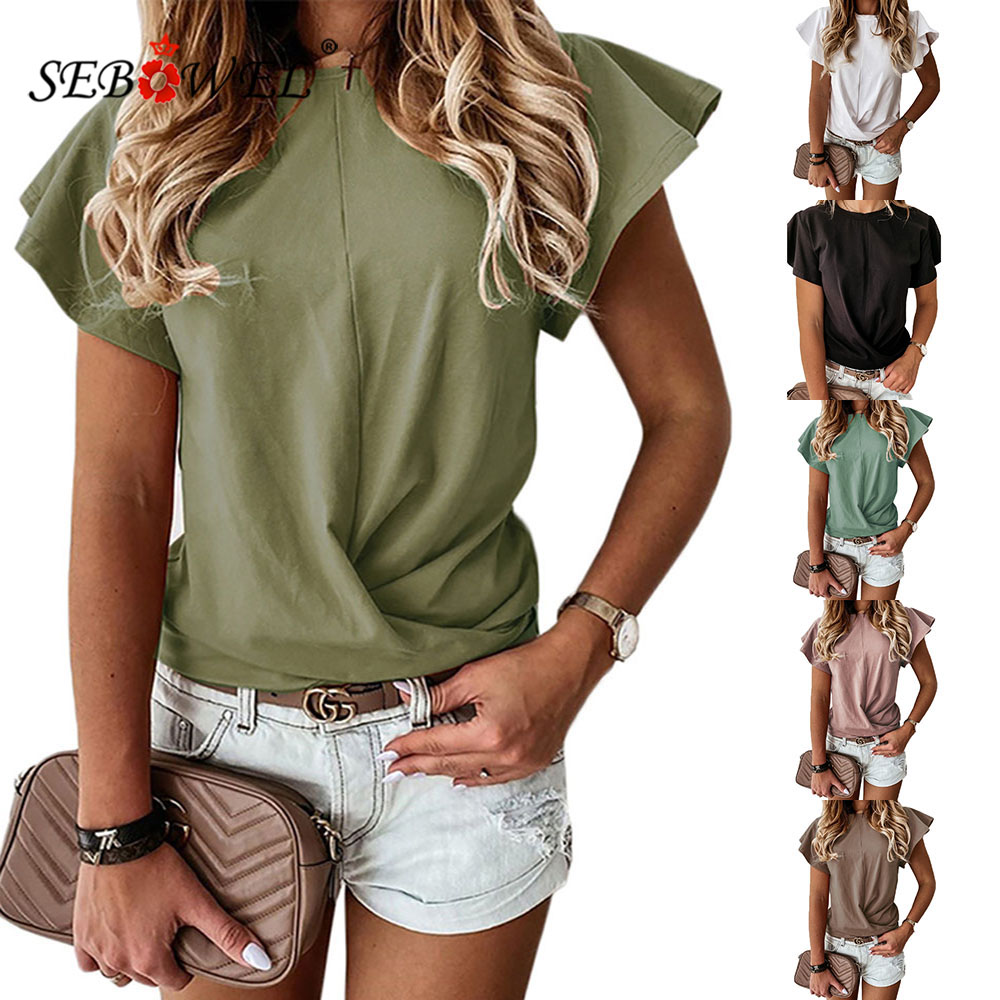 SEBOWEL Summer Woman Ruffles Short Sleeve Top T-<font><b>shirt</b></font> 2020 New Fashion Folds Waist Solid Color Black/White <font><b>6</b></font> Color <font><b>Tee</b></font> Size S-<font><b>XL</b></font> image
