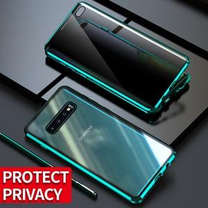 Image 3 - Fall Für Samsung Galaxy S8 S9 S10 Plus S10e Abdeckung Anti Spy 9H Volle Privatsphäre Gehärtetem Glas Screen Protector metall Magnet fall