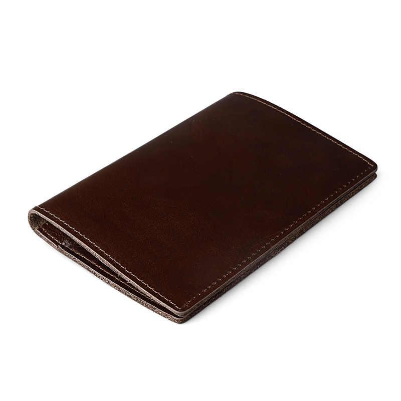 Funda de pasaporte de cuero genuino bolso de licencia de conducir de cuero de Caballo Loco Documento de conducción titular de la tarjeta de crédito monedero cartera funda