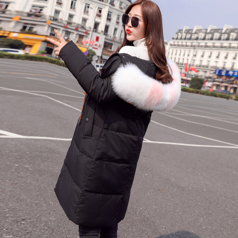 Winter Down Jacket Woman Hooded Slim Long Down Coats Female 90% White Duck Down Parka Real Fox Fur Ladies Clothes 54988-3