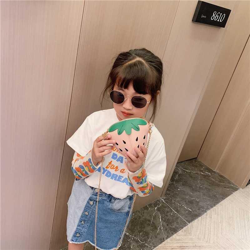Mini Strawberry Tas Anak Perempuan Wanita Lucu 3D Buah Rantai Tas Bahu Anak Kecil Tas Selempang