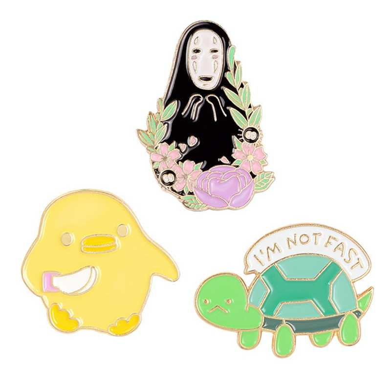 Dier Kleine Schildpad Chick Emaille Pin Cartoon Faceless Man Broche Denim Jassen Decoratie Revers Badge Op Rugzak Sieraden Gift