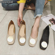 Fashion Spring Flats Shoes Women Slip On Casual Loafers Low Heel Square Toe Round Metal Buckle Ballerinas Soft Shoes boat  m76 pointed metal toe low top hommes chaussures leather slip on loafers heel masculino gold metal decor men shoes leisure male shoes