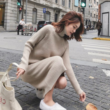 knitted sweater dress turtleneck robe pull femme hiver winter clothes women kazak pullover tricot sueter mujer invierno 2019