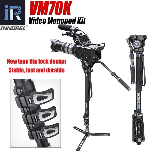 VM70K Professional Lightweight Aluminum Telescopic Camera Monopod with Fluid Head and Tripod Base for DSLR Video Cameras