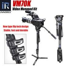 Vm70k câmera telescópica de alumínio leve profissional monopé com cabeça fluida e base do tripé para câmeras de vídeo dslr