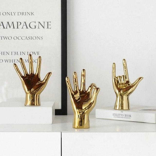 VILEAD Golden Porcelain Gesture Finger Figurines Modern Ornaments Home Room Decoration Desktop Statue Gifts 4