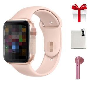 Image 1 - IWO8 умные часы + наушники + пленка/набор 2019 IWO 8 MTK2502C красная круглая кнопка 44 мм серия 4 reloj deportivo hombre для iphone 6 7 X
