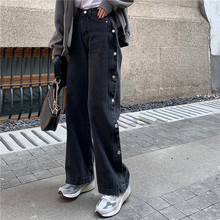 Denim Pants Jeans Punk Vintage Black Women Spring Steetwear High-Waist Female Straight