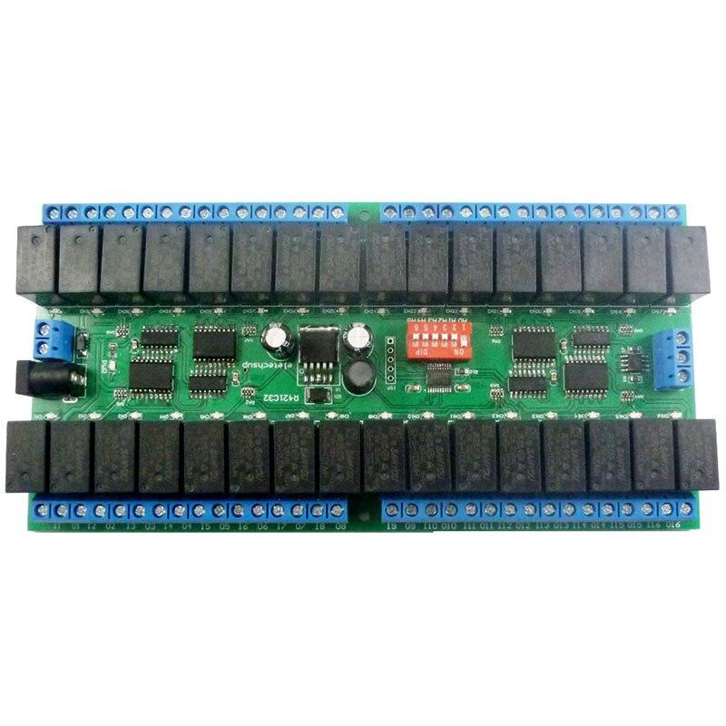 R421C32 DC12V 32 canaux Modbus RTU RS485 | Module de relais dautobus, panneau de Port série UART pour PLC, domotique verrouillage de porte