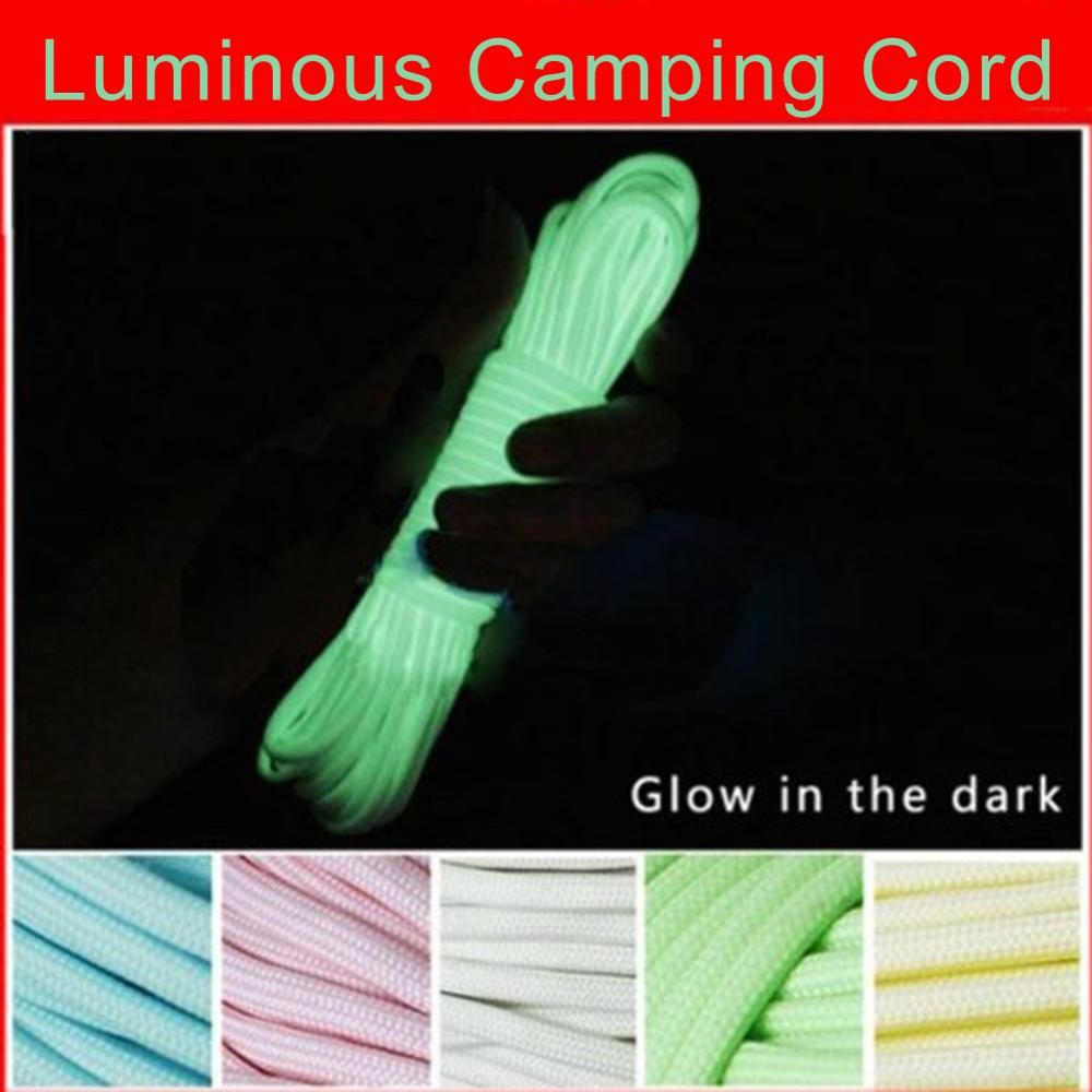6 Meters Camping Rope Survival Luminous Camping Cord Hiking Climbing Ropes 550LB Glow Cord Survival Lanyard Camping Corde